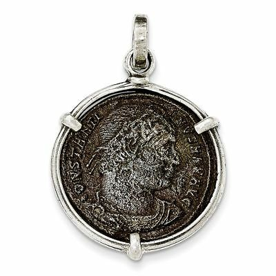 Sterling Silver Antiqued Roman Bronze Constantine I Coin Pendant MSRP $282