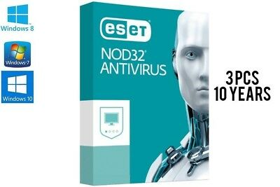 Eset NOD32 AntiVirus 2019 | 3 PC | 10 Year Protection 2028 | Instant Delivery