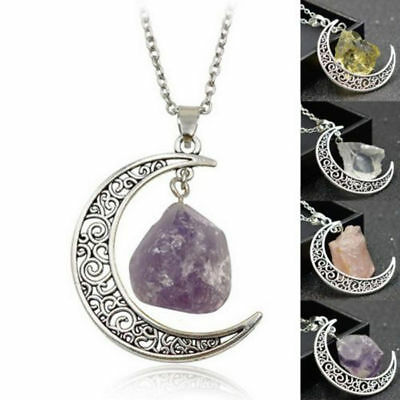 Natural Quartz Moon Crystal Pendant Chakra Healing Gemstone Necklace Jewelry