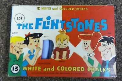 RARE! The Flintstones Vintage 1963 Chalk Set With Chalk Fred Barney Dino Pebbles