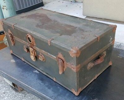 Vintage Antique Metal Steamer Travel Trunk Suitcase, Early-Mid 1900s