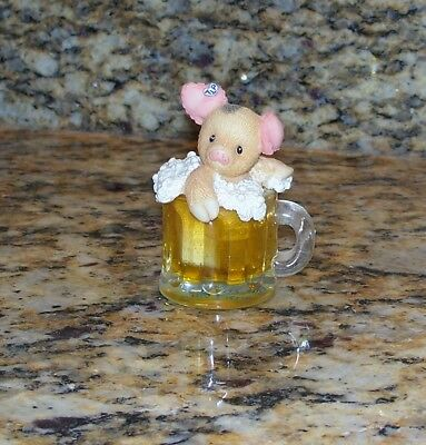 Enesco TLP This Little Piggy Figurine Cheers To You 299901 Baby Pig In Beer Mug