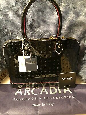 6d02158d61bd NWT-AUTHENTIC ARCADIA PATENT LEATHER HANDBAG MADE IN ITALY-BLACK 3614 w  DUST BAG