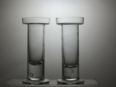 Pair Of Dartington Crystal Cut Glass Candle Holders Stands Candlesticks Tealight