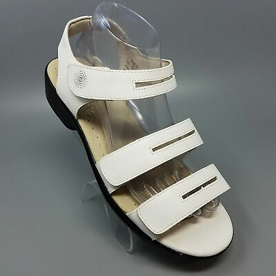 274feb050ce Propet White Leather Strappy Sandals Low Heel Shoes W0213 Womens 7.5X (2E)  Wide
