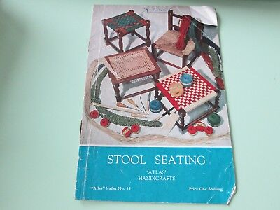 Stool seating-Atlas Handicrafts-vintage pattern book-from UK