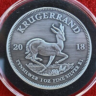 2018 South African KRUGERRAND 1 Troy OZ .999 Silver - Custom Antique Finish