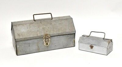 Vintage Industrial Hand Made Galvanized  Metal Tool Boxes Large And Small