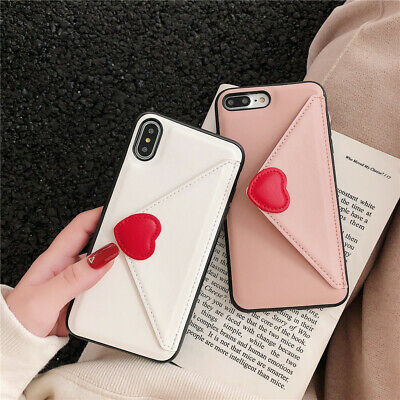 For iPhone XS Max XR X 8 7 6 Plus Cute Heart Envelope Leather Wallet Case Cover