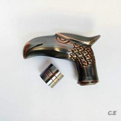 Vintage Royal Style Solid Brass Eagle Head Handle For Walking Cane