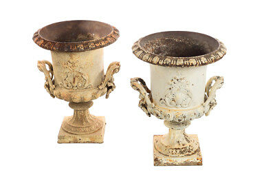 19th century Antique French Cast Iron garden Urns -a Fabulous Pair