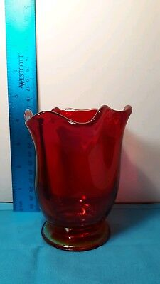 Beautiful Vintage Ruby Red Blown Art Glass Vase with Ruffled Edge