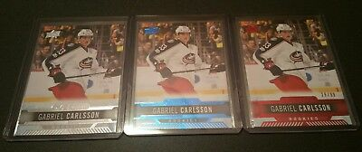 2017-18 UD Overtime Rookies #57 Gabriel Carlsson Base, Blue and Rare Red 29/99