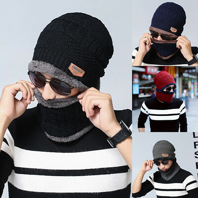 Warm Knitted Hat + Circle Scarf Skiing Hat Outdoor Sports Hat Set For Men Women