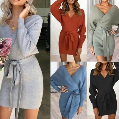 Pencil  Dress  Silm  Winter Long  Bodycon Belted Party  Slim  Women Knitted