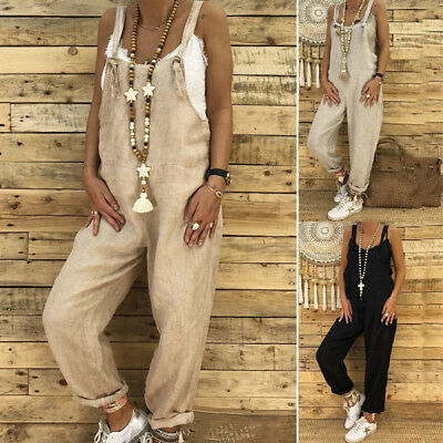 UK 1PC Womens Ladies  Casual Linen Jumpsuit Dungarees Playsuit Trousers Overalls