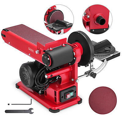 Belt Disc Sander Bench Grinder W/ Dust Extraction Port Electric Sanding Linisher
