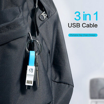 Type-C Micro USB Sync Data Charger Cable Keychain For iPhone Xs Max XR Android