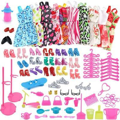 85 Pcs Barbie Doll Dresses Shoes jewellery Clothes Set Cleaning Accessories