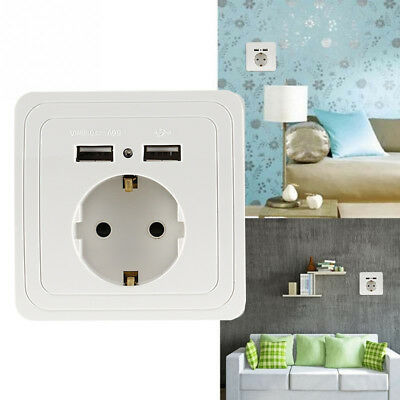 Dual USB Port Electric Wall Charger Adapter Station Socket Power EU Plug Switch~