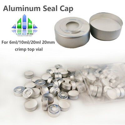 100pcs Aluminium Seal Caps PTFE+Silicone Septa 20mm for 6/10/20ml Crimp Top Vial