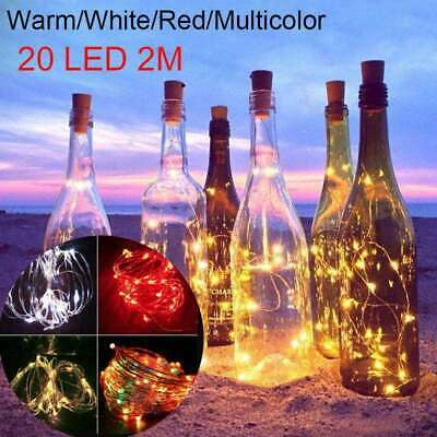 20LED Cork Copper Wire Fairy String Lights Wine Bottle For Xmas Party Decor NEW
