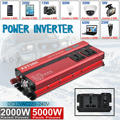 New 3000W 5000W LCD Car Power Inverter 12V To AC110/130V Converter USB Caravan