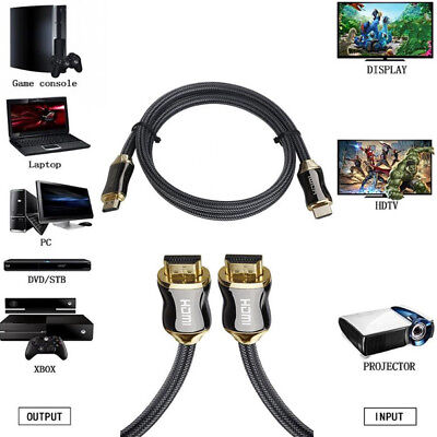 Braided Ultra HD HDMI Cable v2.0 High Speed + Ethernet HDTV 2160p 2K 4K 3D HDR