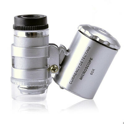 Handheld Mini 60x Pocket Microscope Loupe Jeweler Magnifier With Led UV Light_WR