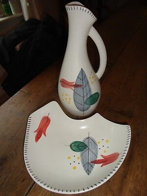 H.J WOOD PIAZZA WARE BL RETRO LEAF DESIGN oil jug free form dish plate original