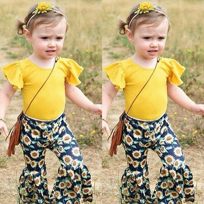 Toddler Kids Baby Girl Tops Dress+Flared Pants Loose Leggings Outfits Clothes US