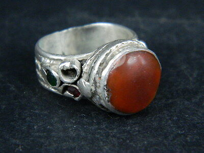 Antique Post Medieval Silver ring With Stone 1800 AD ##AZ06##