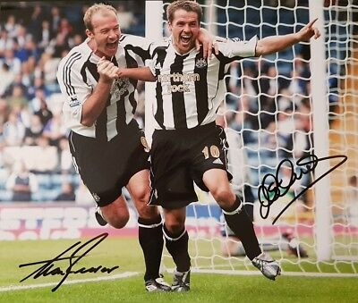 ALAN SHEARER & MICHAEL OWEN Signed 12x10 Photo NEWCASTLE UTD & ENGLAND COA