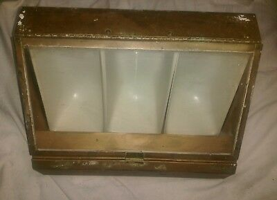 """ANTIQUE  DISPLAY CASE with 3 DIVIDED COMPARTMENTS 15""""x9""""x9"""""""