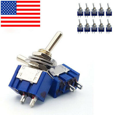 10pc 6mm 2 Pin 2 Position SPST ON-OFF 3A 250VAC Mini Toggle Switches MTS-101 h P