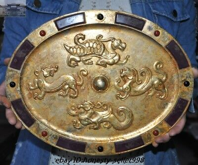 Old Chinese Palace Bronze inlay Jade Gild four Great Beast Dynasty Dragon Mirror