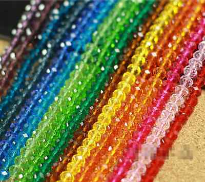 Rondelle Faceted Crystal Glass Spacer Loose Beads DIY Craft 3mm/4mm/6mm/8mm/10mm