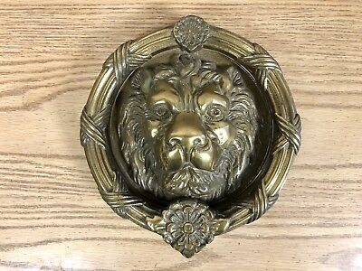 Large Vintage Heavy Solid Brass Lion's Head Door Knocker Hardware