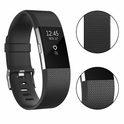 For Fitbit Charge 2 Sprot Band Large Small Silicone Wristband Strap Metal Buckle