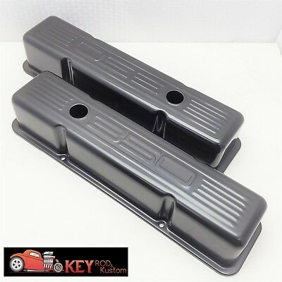 Small block Chevy black 350 logo stamped steel valve covers 1958-86 SBC