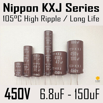 Nippon KXJ Series 450V 6.8uF-150uF Long Life / Hight Ripple 105C Capacitors