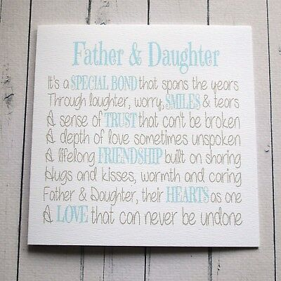 BIRTHDAY CARD FOR DAD FATHER DAUGHTER Birthday Card Any Occasion WEDDING DAY