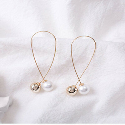 Exaggeration Long Simulation Pearl Dangling Earrings for Holiday Celebrations D