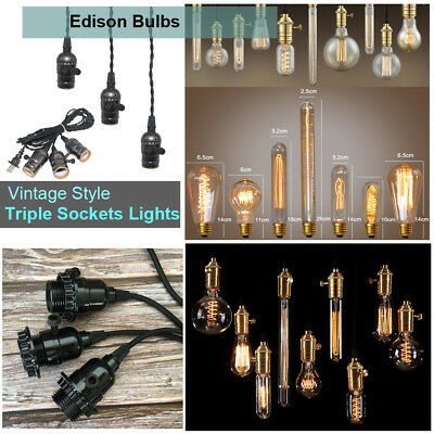 110V 40W 60W Retro Antique Edison Filament Light Bulb Triple Socket Lamp Pendant