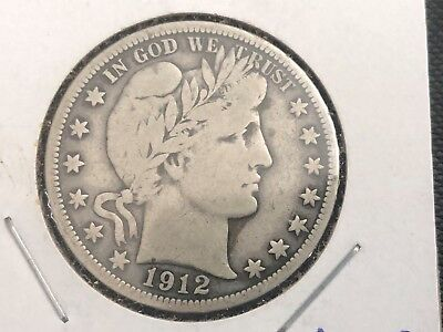 Key Date 1912-S Barber Silver Half Dollar Silver Coin