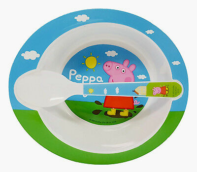 Colorful Peppa Pig Bowl and Spoon Meal Time