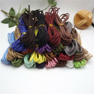 10pcs Leather Cord Soft Suede Thong Lace Flat Rope Thread String Craft 3mm