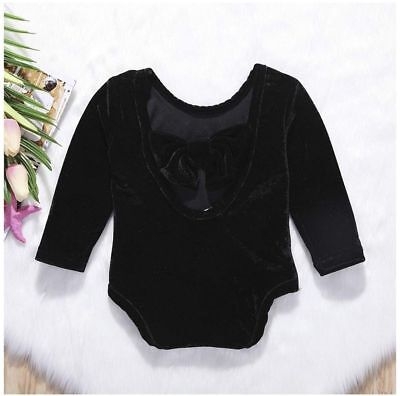 New Born Baby Girls Long Sleeve Velvet Bowknot Backless Jumpsuit Outfits