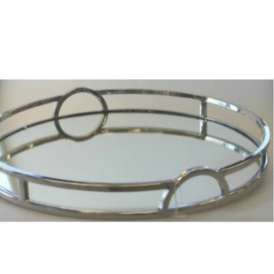 Art Deco Round Mirror Tray with arch handles - 49 cm