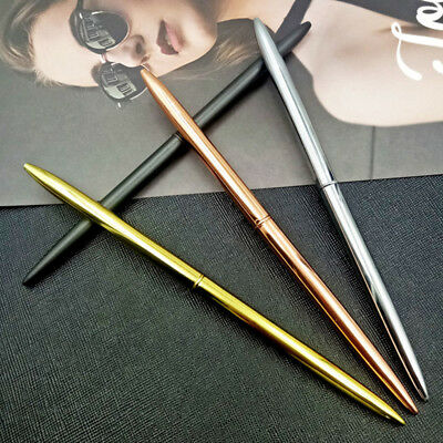 Metal Slim Student Office Stainless Steel Ballpoint Ink pen Writing Stationery